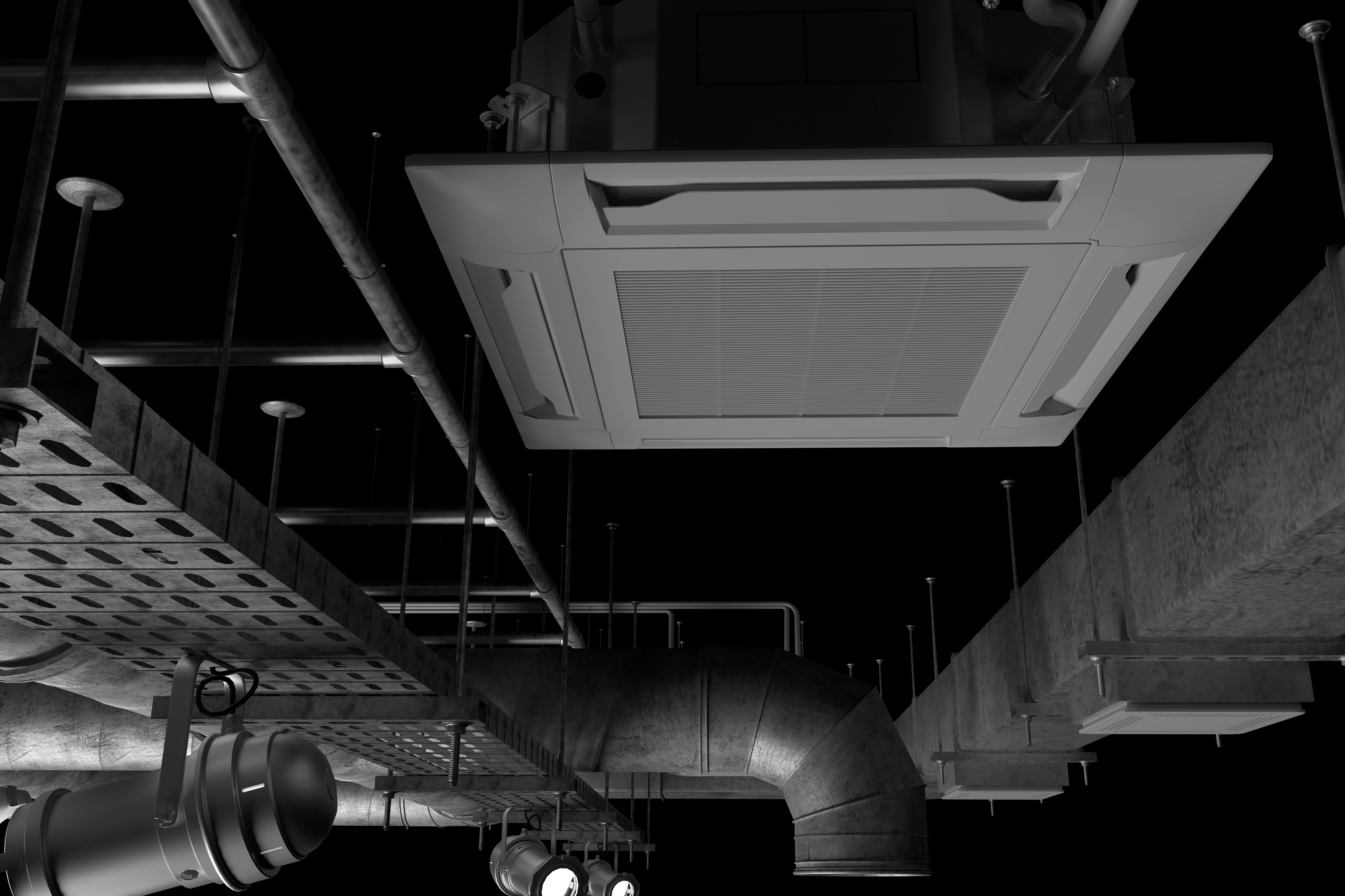 3D illustration of the ceiling pipes and air condition system