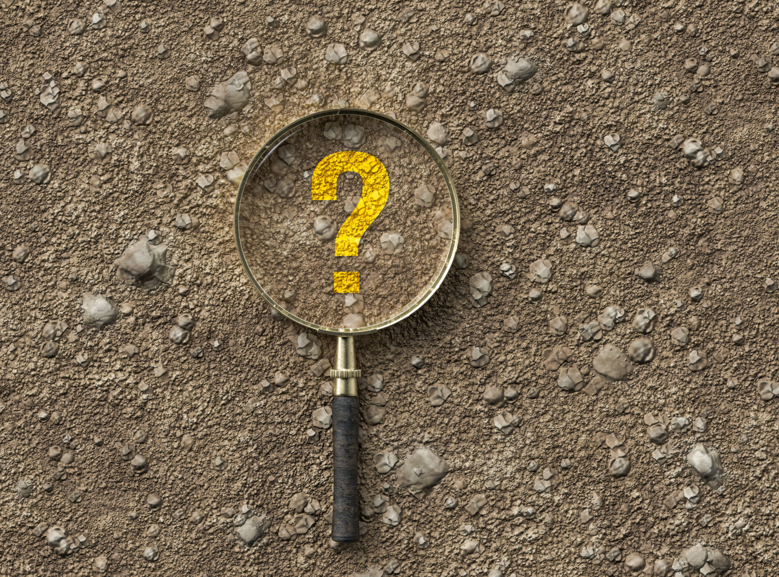 magnifying glass with question mark on dirt gravel background - 3d illustration